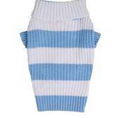 Stickad pullover blå/vit